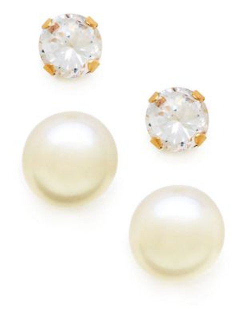 Fine Jewellery Girls Set of 14K Pearl and Cubic Zirconia Earrings - PEARL