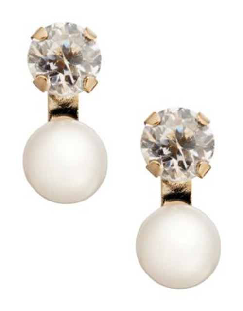 Fine Jewellery Girls 14K Pearl and Cubic Zirconia Earrings - WHITE