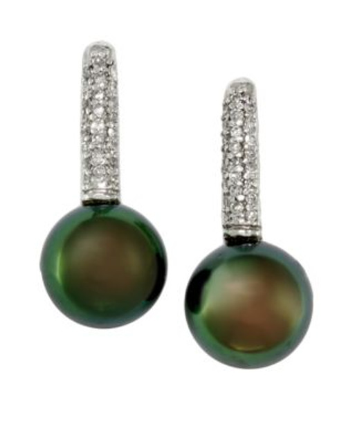 Effy 14K White Gold Diamond And Tahitian Pearl Earrings - DIAMOND/BLACK PEARL