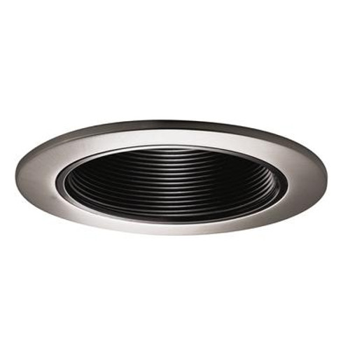 Black Baffle with Satin Nickel Trim Ring-4 Inch Aperture