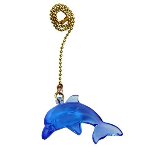 Blue Dolphin Pullchain with 12 Inch (30.5 cm) Brass Beaded Chain