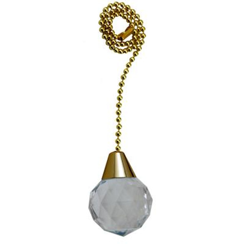 Acrylic Sphere Pullchain with 12 Inch (30.5 cm) Brass Beaded Chain