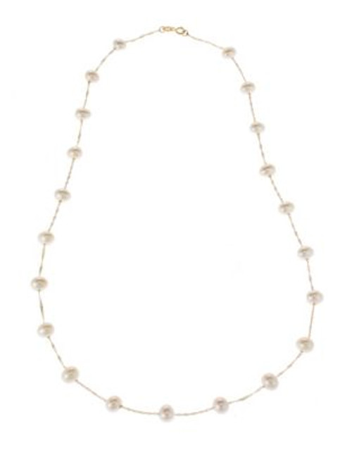 Fine Jewellery 14K Yellow Gold Pearl Station Necklace - PEARL