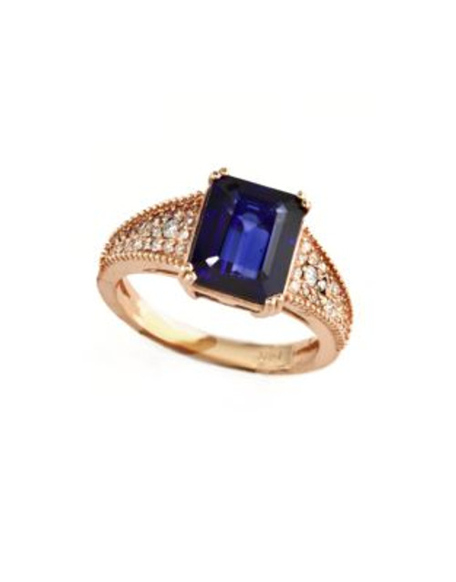 Effy 14K Rose Gold Diamond Manufactured Diffused Sapphire Ring - SAPPHIRE - 7