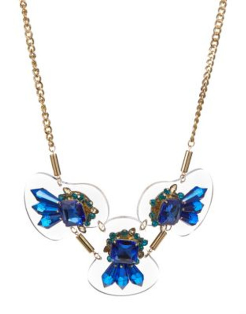 424 Fifth Large Gem and Acrylic Collar Necklace - BLUE