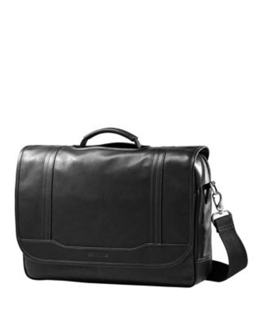 Samsonite Leather Flapover Briefcase - BLACK