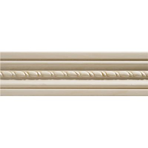 White Hardwood Embossed Rope Casing 1/2 x 2-1/8 - Sold Per 7 Foot Piece
