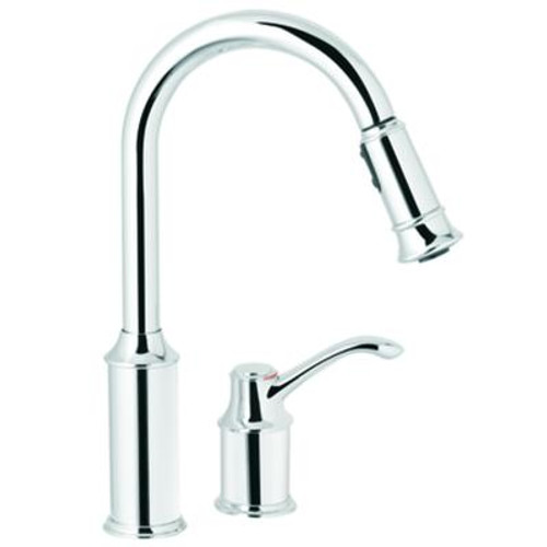 Aberdeen 1 Handle Kitchen Faucet with Matching Pulldown Wand - Chrome Finish