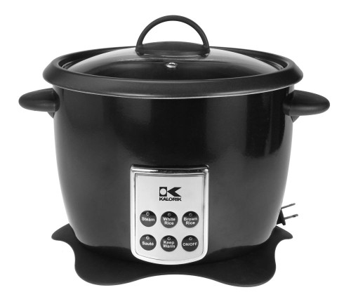 Black Multifunction Digital Rice Cooker with Retractable Power Cord