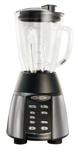 Oster 1000 Peak Watts 3 Speed 2 Pre-Program Setting Blender (Stainless Steel and Black)