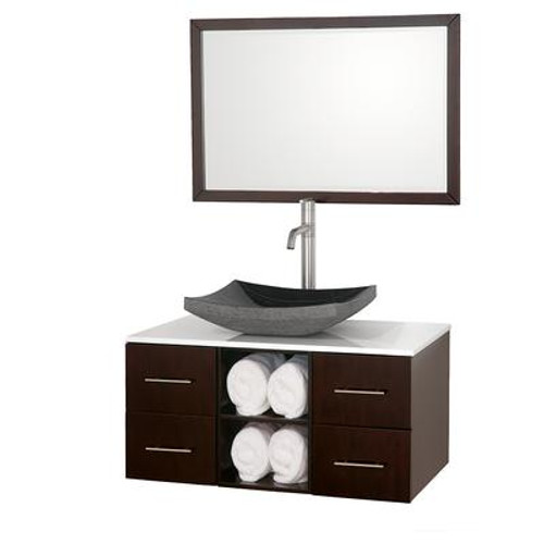 Abba 36 In. Vanity in Espresso with Man-Made Stone Vanity Top in White and Mirror