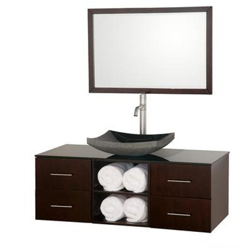 Abba 48 In. Vanity in Espresso with Glass Vanity Top in Black and Mirror