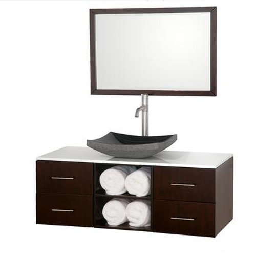 Abba 48 In. Vanity in Espresso with Man-Made Stone Vanity Top in White and Mirror