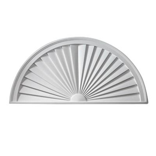 28 Inch x 14 Inch x 1-3/4 Inch Smooth Half Round Sunburst Pediment