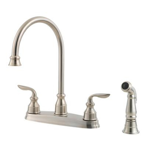 Avalon Lead Free Four-Hole Two-Handle Kitchen Faucet in Stainless Steel