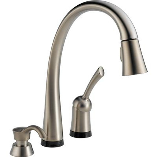 Delta Pilar Pull-Down Kitchen Faucet With Soap Dispenser - Stainless Steel