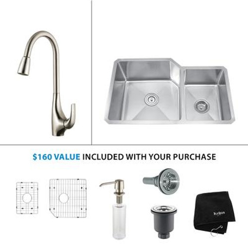 32 Inch Undermount Double Bowl Stainless Steel Kitchen Sink with Stainless Steel Finish Kitchen Faucet and Soap Dispenser
