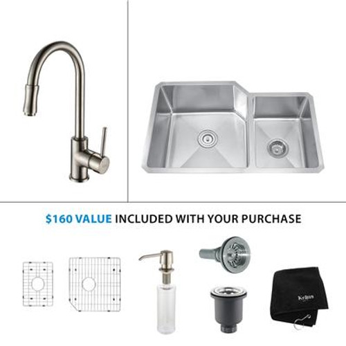 32 Inch Undermount Double Bowl Stainless Steel Kitchen Sink with Satin Nickel Kitchen Faucet and Soap Dispenser