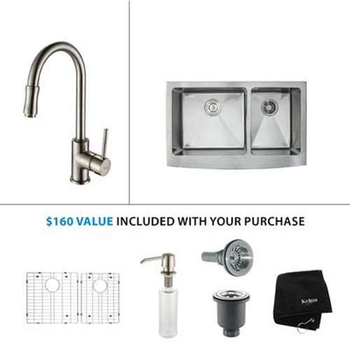 33 Inch Farmhouse Double Bowl Stainless Steel Kitchen Sink with Satin Nickel Kitchen Faucet and Soap Dispenser