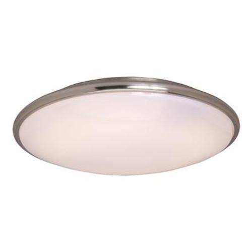 1+1 Light Flush Mount Satin Nickel Finish White Glass