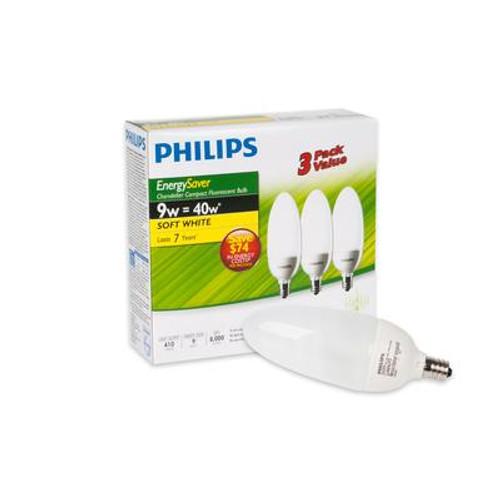 CFL 9W = 40W Chandelier Small Base Soft White (2700K) - Case of 18 Bulbs