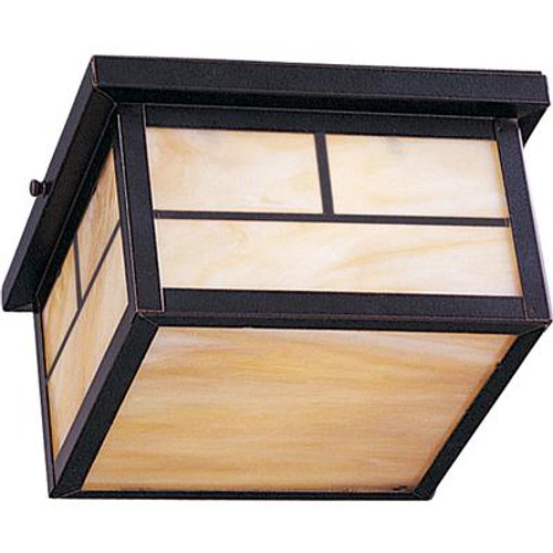 2 Light Outdoor Ceiling Mount Burnished Finish Honey Glass