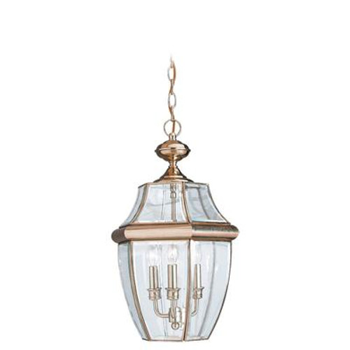 3 Light Polished Brass Incandescent Outdoor Pendant
