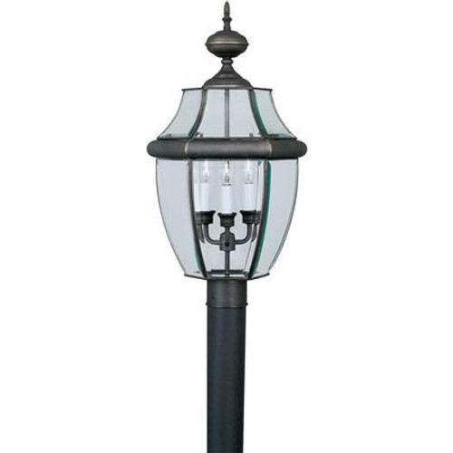 Burton 3 Light Royal Bronze  Outdoor Incandescent Post Light