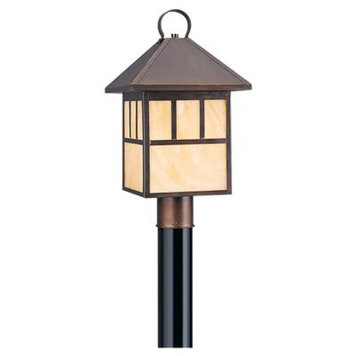 1 Light Antique Bronze Fluorescent Outdoor Post Lantern
