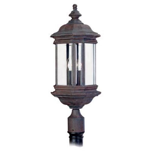 3 Light Textured Rust Patina Incandescent Outdoor Post Lantern