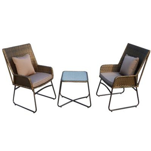 3 PC Bistro Set With Cushions And Toss Cushions
