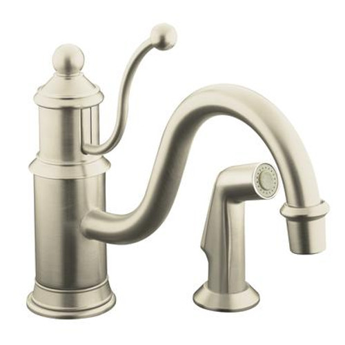 Antique Single-Control Kitchen Sink Faucet In Vibrant Brushed Nickel