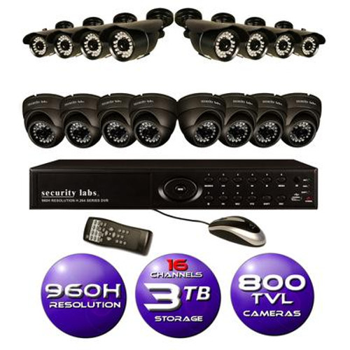 16 CH 960H DVR Surveillance System with 3TB HD and (16) 800TVL IR Weatherproof Cameras