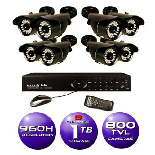 8 CH 960H DVR Surveillance System with 1TB HD and (8) 800TVL IR Weatherproof Bullet Cameras