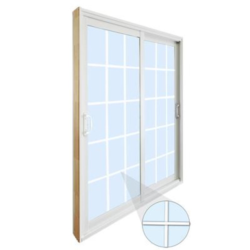 Double Sliding Patio Door - 15 Lite Internal White Flat Grill - 5 Ft. / 60 In. x 80 In.