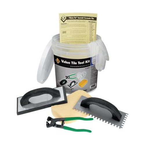 Ceramic Floor Tile Installation Kit Including a Trowel; Float; Nippers; Gloves; Sponge and Bucket