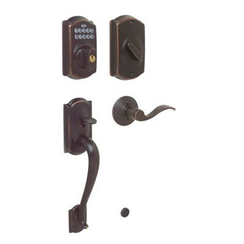 Aged Bronze Electronic Door Handleset Camelot / Accent Lever