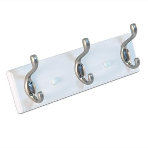 10 In. White Board with 3 Hooks - Pewter