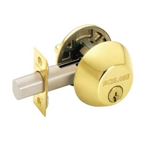 Bright Brass Single Cylinder Deadbolt