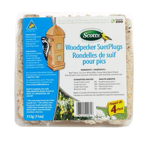 SCOTTS WOODPECKER SUET PLUGS 4 PACK 312G