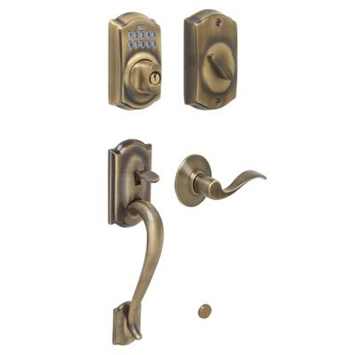 Antique Brass Electronic Door Handleset Camelot / Accent Lever
