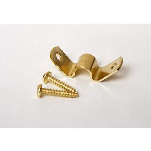 Aluminum Stair Rod Clips; Brass - 1/4 Inch