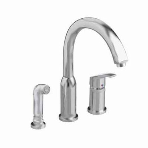 Arch Single-Handle Side Sprayer Kitchen Faucet in Stainless Steel