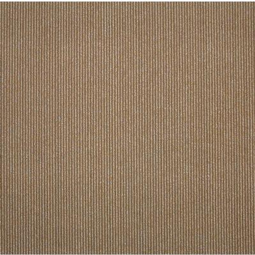 19.69 Inch x 19.69 Inch Beige/Cocoa Bailey Stripe Carpet Tile (26.9 Sq.ft./case)