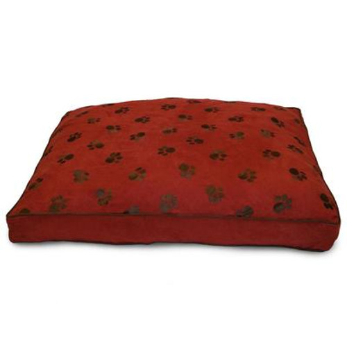 Ultima Suede Paw Print Cinnabar Pet Bed