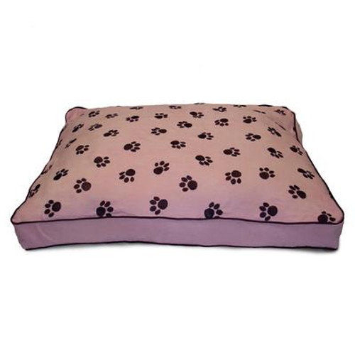 Ultima Suede Paw Print Pink Pet Bed