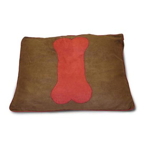 Dog Bone Chocolate Applique Cinnabar Pet Bed