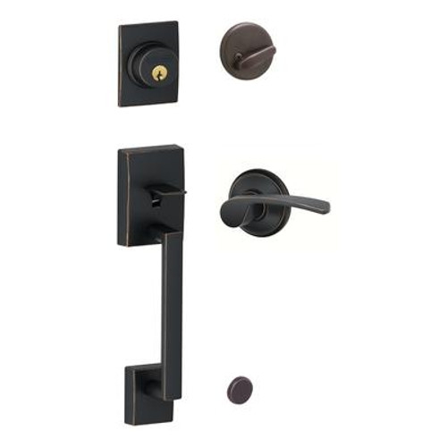 Aged Bronze Century Handleset Door Lock with Merano Lever