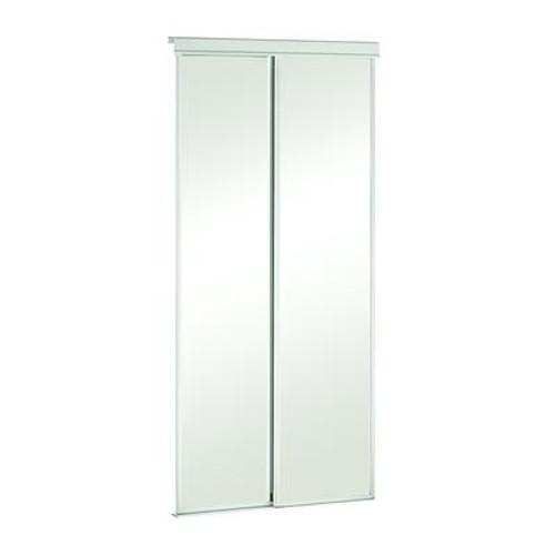 48 Inch White Framed Mirrored Sliding Door