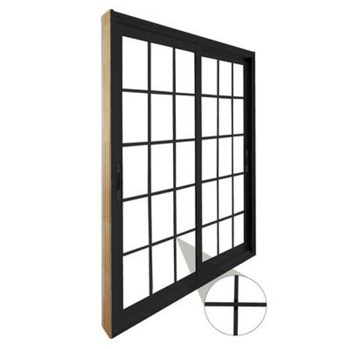 Double Sliding Patio Door - 15 Lite Internal White Flat Grill - 5 Ft. / 60 In. x 80 In. Black
